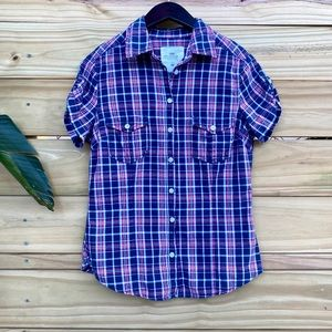 H&M Plaid Short Sleeve Button-Down Blue Red Size 8